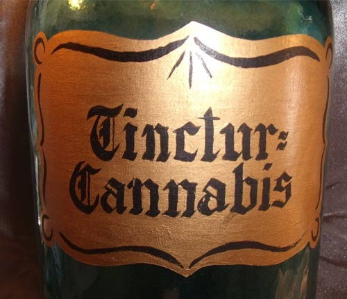vintage cannabis bottle